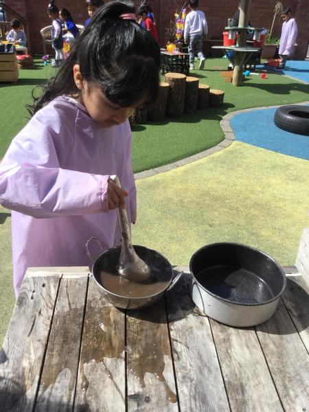 Our mud kitchen is outdoors