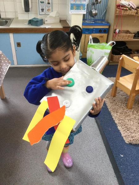 Fazilet enjoyed making her rocket