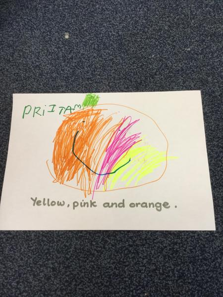 Pritam draws a pumpkin