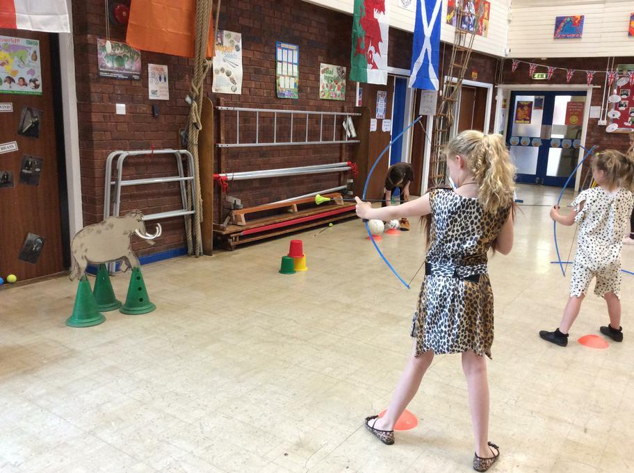 We practised hunting woolly mammoths