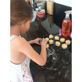 Lola making scones for VE Street Party.