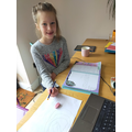 Lyla completing topic work