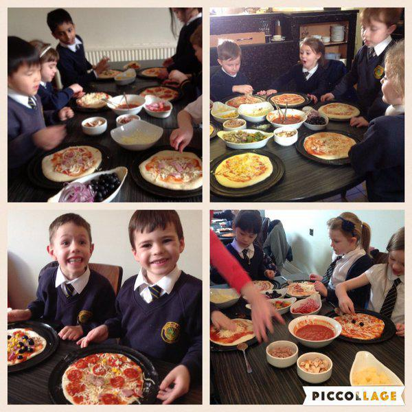 Y1 make and eat pizza at a local restaurant