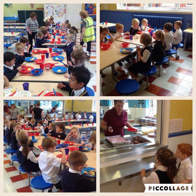 Reception enjoy their first school dinner