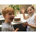 Thomas and Isla's Victoria sponge for VE day