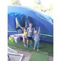 Lyla camping in the garden