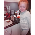 Olivia's panda cake and toilet roll animals