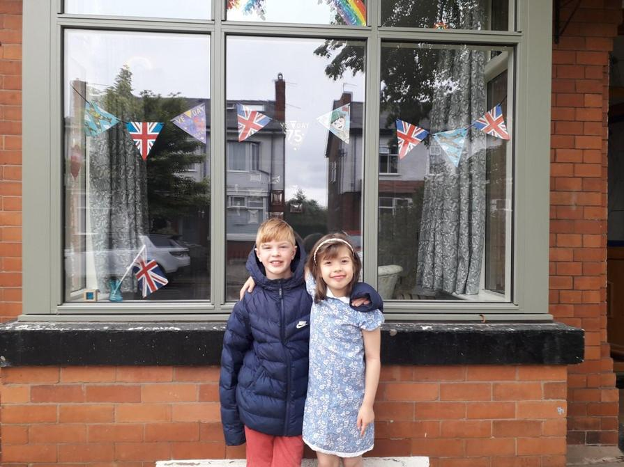 Louis and Molly celebrating VE Day