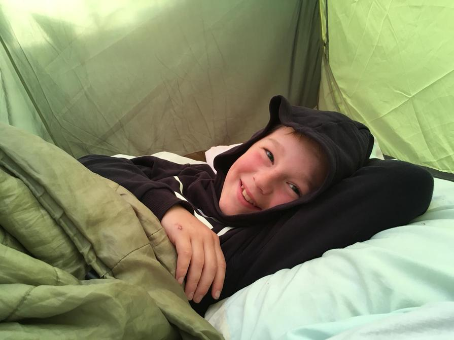 James camping