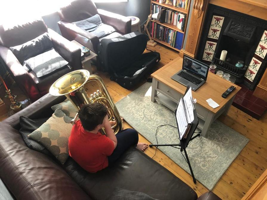 Dom having a Tuba lesson on Zoom!