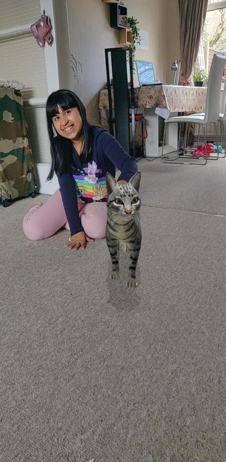 Sharanya with virtual cat