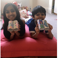 Roshan and Subhi with their colourful binoculars