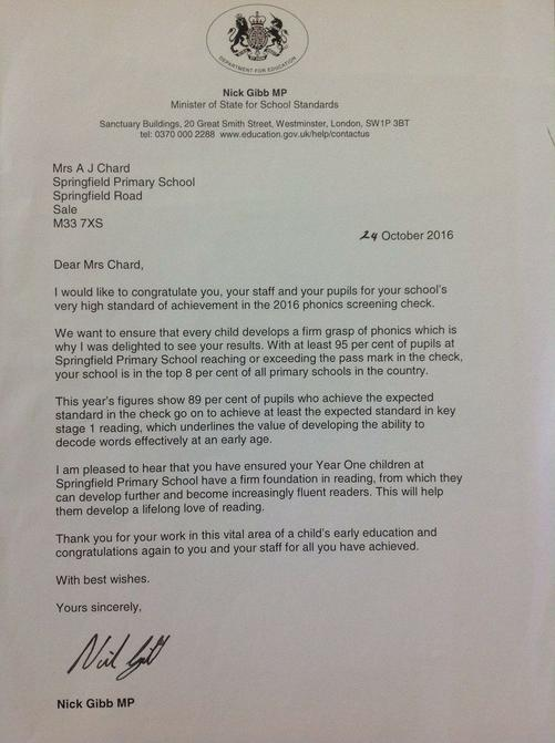 A letter from the government - top 8% for phonics!