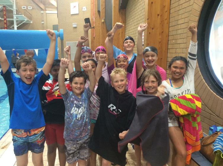 Swimmers cheering