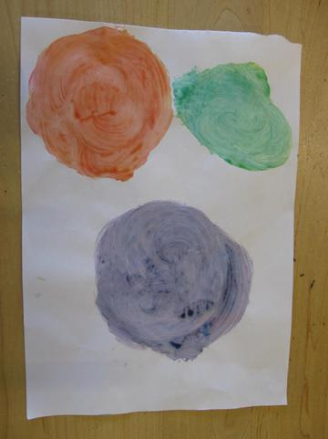Kayden tried some colour mixing with paint at home
