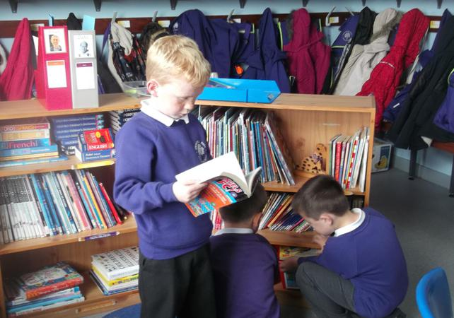 Here we are choosing books to read.