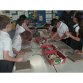 We pressed all sorts of objects into the clay