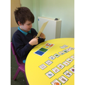 Leon using colourful semantics to build his amazing sentences.