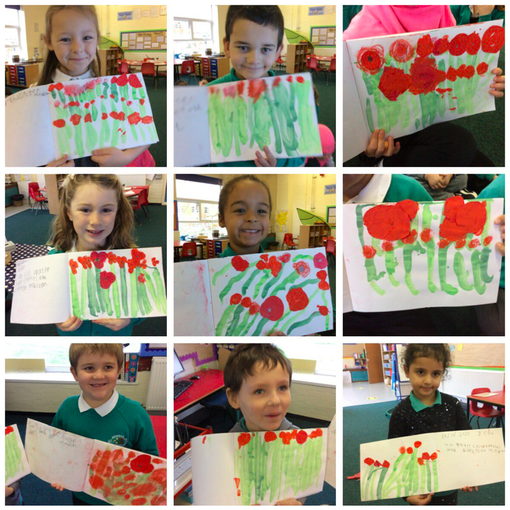 The children used different medium to make Poppy field pictures. See twitter for more!
