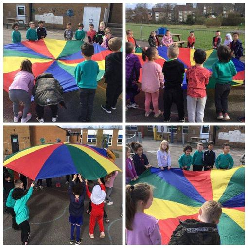 We played some parachute games