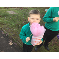enjoying some candyfloss a the fayre