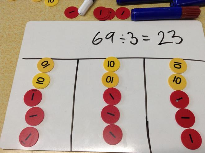 Division using place value counters