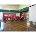 Working on our aim in Badminton for Year 4