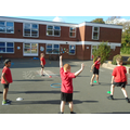 Working on our footwork in Tennis in Year 5