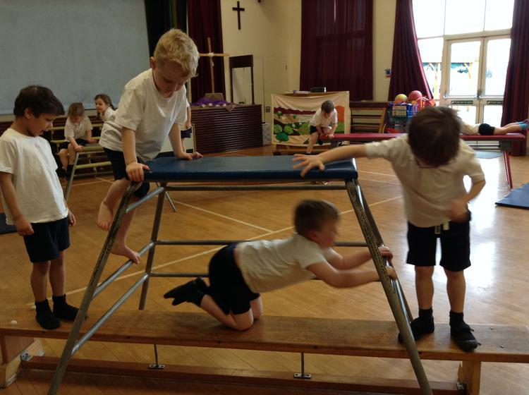 Climbing in our weekly PE lessons.