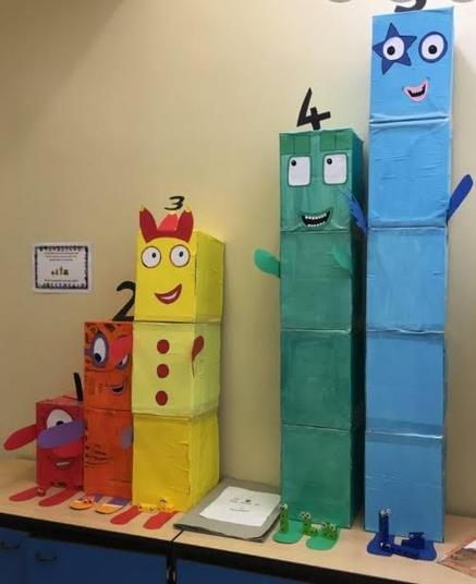 Numberblock characters made out of cardboard!