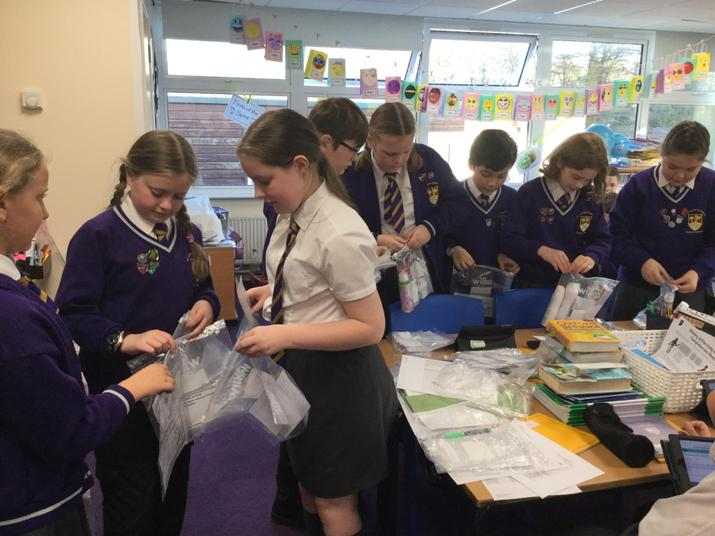 Sorting toiletries to take to St. Chad's Sanctuary