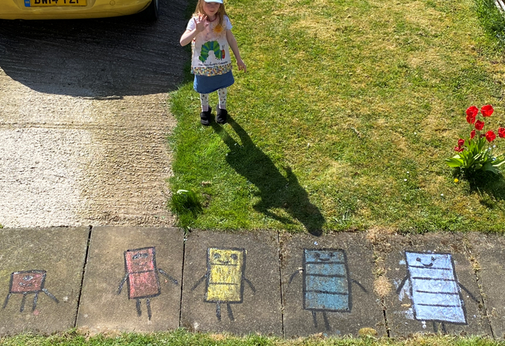 Dolly's chalk drawings of Numberblock characters
