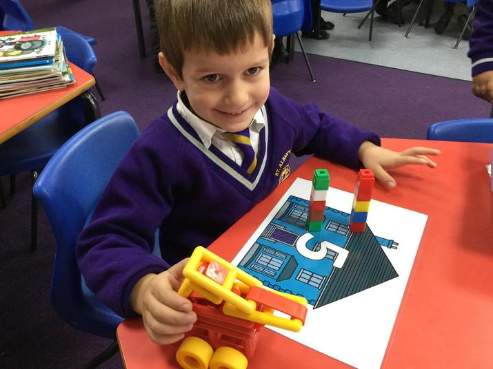 'I have two towers of 5...5 and 5 make 10.'