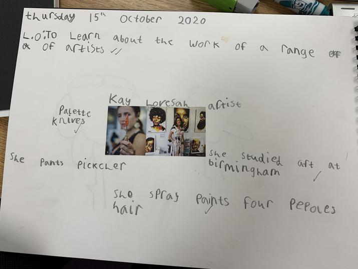 Y2 learning about Kay Lovesah