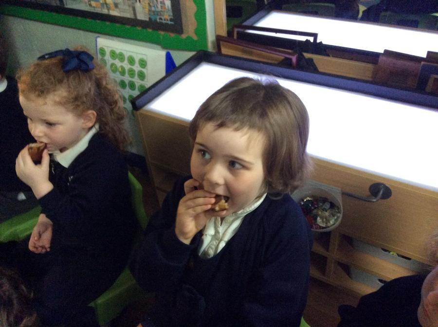 Harriet and Addison enjoyed eating 'hot cross buns'.