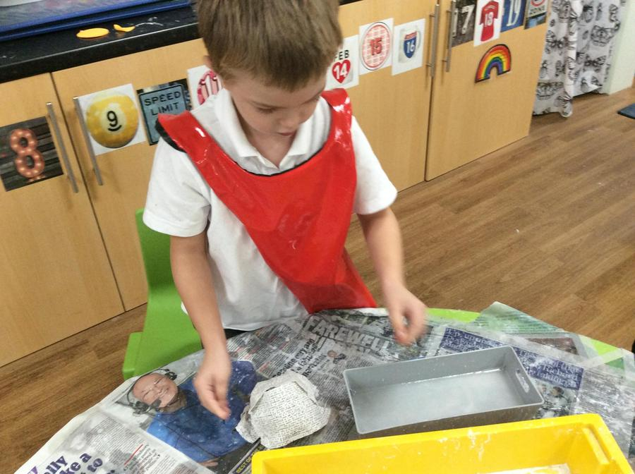 Nicholas made his egg and then let it dry and 'set'.