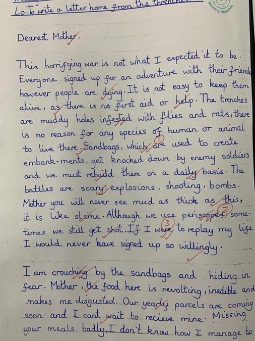 In our English lessons we wrote letters home from the point of view as a soldier.