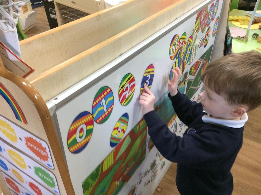 Chase used the number eggs to recognise different numerals and patterns.