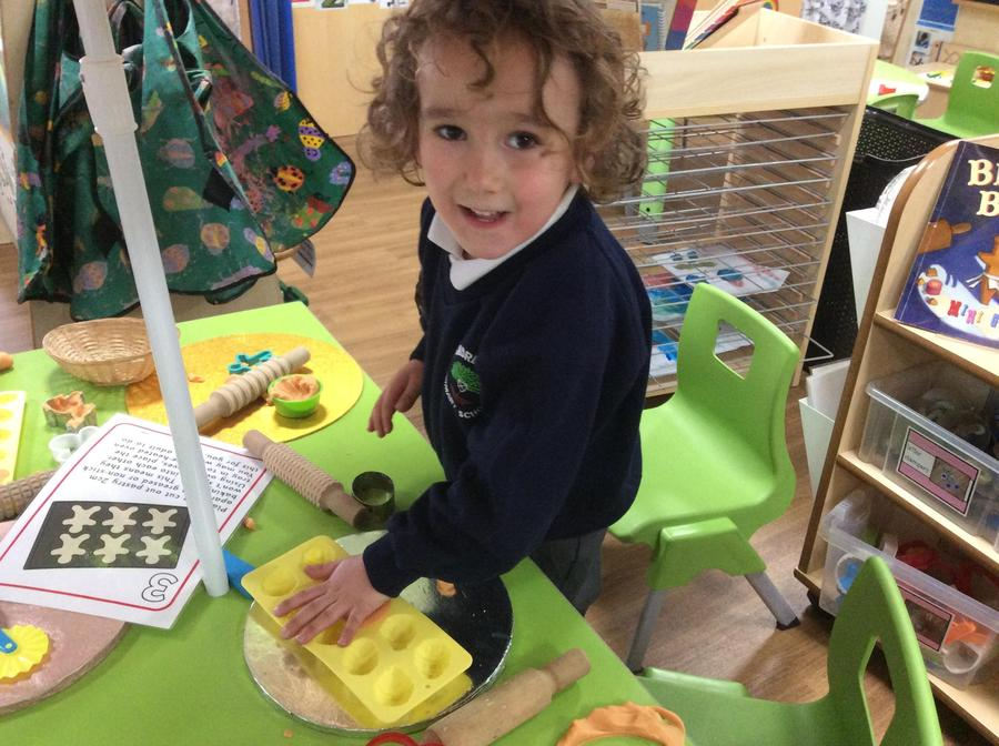 Bobby made 'Easter cakes' with the playdough.