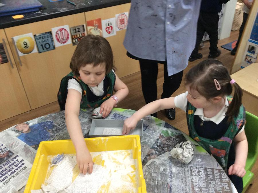 Annabelle and Harriet had to soak the modrock to 'soften' it, ready to mould into an egg.