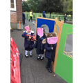 Re telling the story using masks we made.