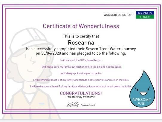 Water certificate