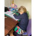 Abigail working hard