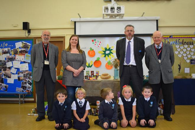 Harvest Festival. Joined by Re. Major and our Bishop's Visitor, Mr Wells. Decorations by 1HL!