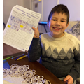 Henri (Durham Class) working through the home learning pack