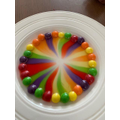 I did the skittle experiment we tried  with cold and hot water to see which one would dissolve the fastest and hot water won