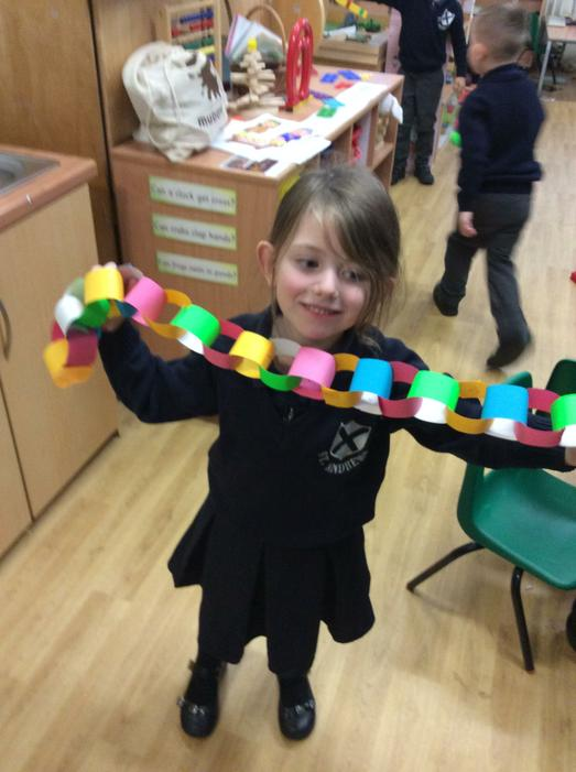 Making paper chains!