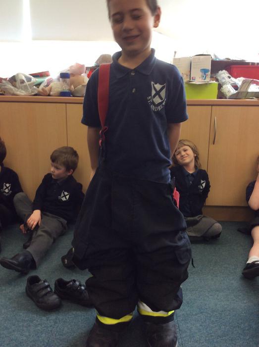 The big uniform made us giggle!