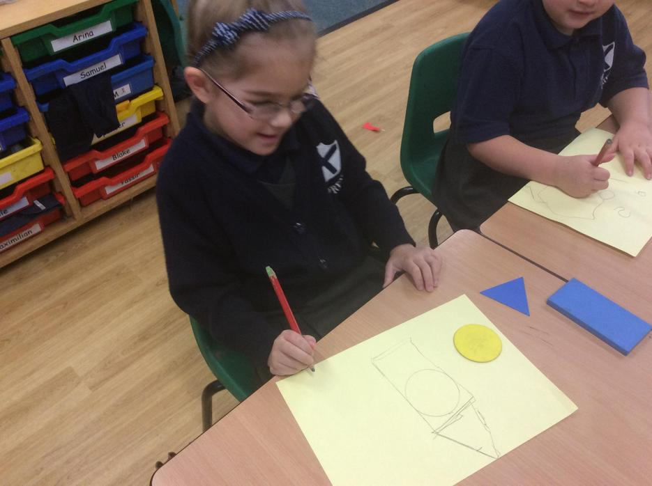 We drew around 2D shapes to make pictures