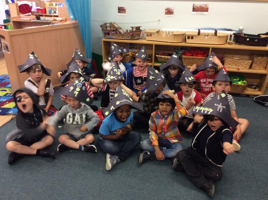 We made our own pirate hats..